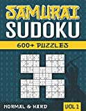 Samurai Sudoku: Sudoku Book for Adults with 600+ 5 in 1 Sudoku - Normal and Hard - Vol 1
