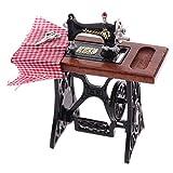 RUIYELE Máquina de coser casa de muñecas, 1:12, muebles en miniatura, máquina de coser de madera, casa de muñecas, decoración para casa de muñecas, accesorio de decoración de juguete, color amarillo