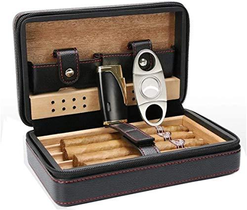 JIAJBG Humidor Caja de Cigarros Viajar Caja de Cigarros Cedro Cedro de Madera Cigarro Humidor Caja Humidificador Cutter Set Accesorios Ligero