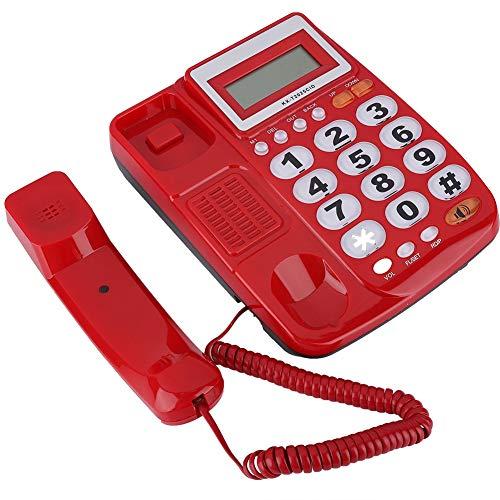 Teléfono fijo de mesa con cable LCD para hotel, casa, oficina, color rojo