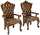 ACME Versailles 2-Tone Light Brown Arm Chair Set of 2