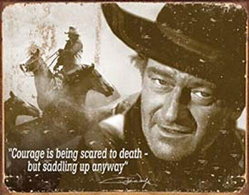 AMELIA SHARPE Tin Sign Retro-John Wayne Courage Quote-Wall Decoration Poster Family Kitchen bar Restaurant Garage Cafe Art Retro Metal Sign 12x8 inches