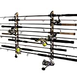 Rush Creek Creations Fishing Rod and Pole Rack - Storage Holder on Wall or Ceiling, Camouflage Laminate