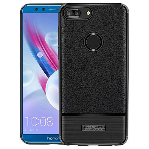 ebestStar - kompatibel mit Huawei Honor 9 Lite Hülle Lederhülle Design TPU Handyhülle Schutzhülle, Flex Silikon Hülle, Schwarz [Phone: 151 x 71.9 x 7.6mm, 5.65'']