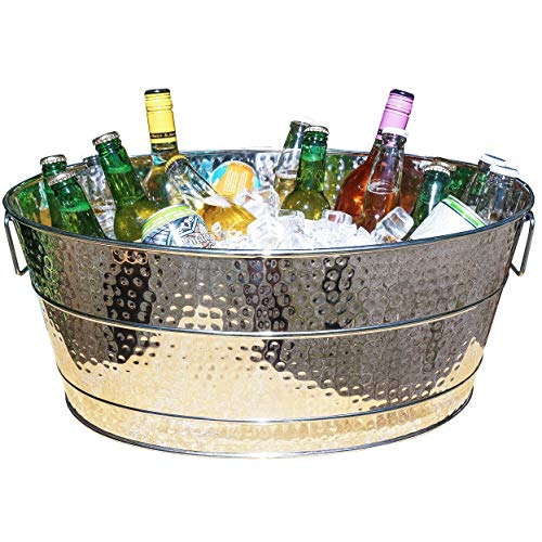 BREKX Aspen Galvanized Stainless Steel-Finish Metal Ice and Drink Bucket,...