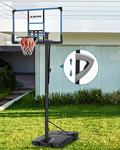 MaxKare Portable Basketball Hoop & Goal Outdoor, 48 inch PC Backboard Adjustable from 7ft 6in - 10ft, Basketball Hoop System for Adults Teens Outside
