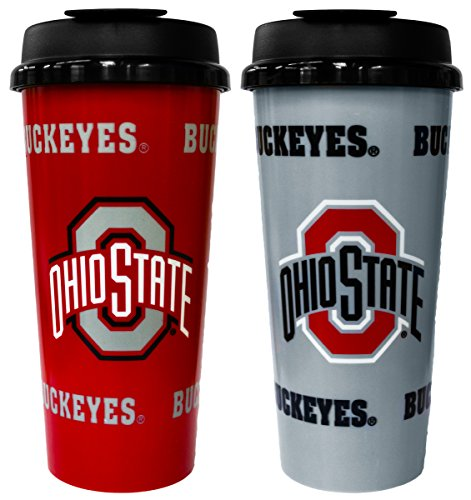 GameDay Novelty NCAA Ohio State Buckeyes Insulated Travel Tumbler with No Spill Flip Lid, 16 oz, 2 Pack
