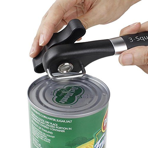 3-Square Co. Ultimate Can opener. Single Handle Stainless Steal Can opener. Manual Can Opener. Cuts Clean with no Edges. Easy to clean and cuts safely