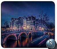 運河建物市の夜ライト反射都市の景観13679マウスパッドマットマウスパッドホットギフト