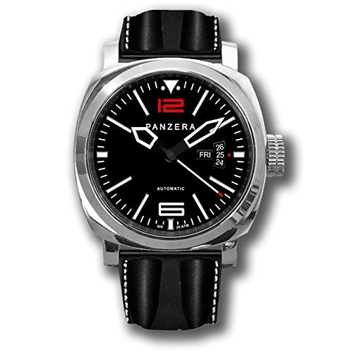 """Panzera """"Aquamarine 45 - Atlantic Descent"""" Automático Acero Inoxidable 316L Diver Day-Date Negro Silicona Hombre Reloj"""