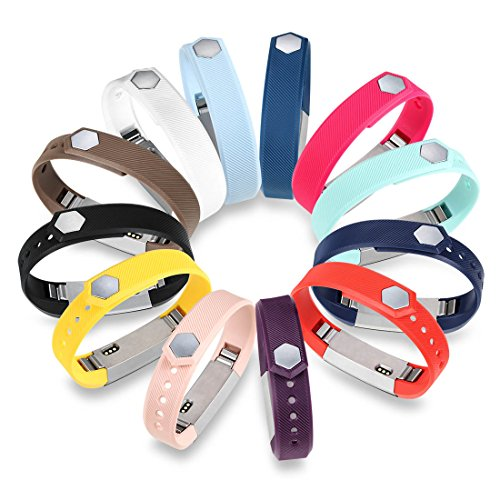 GinCoband 12PCS Fitbit Alta HR Accessory Replacement Bands with Clasp for Fitbit Alta,Alta HR Sport Arm Band No Tracker (Large)