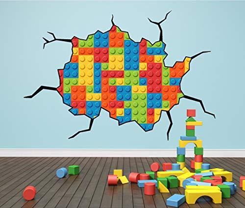 Wandtattoo mit Lego-Steine-Motiv, groß und farbenfroh, Design mit Rissen, Wandaufkleber für Kinder, Small 20cm x 30cm