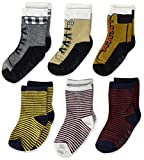 The Children's Place Baby Boys' Striped Shoe Midi Socks 6-Pack, H/T Smoke, 6-12 Months