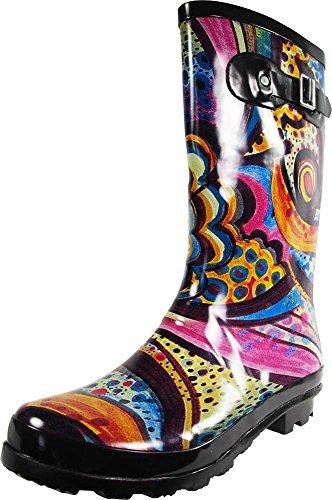 NORTY - Womens Hurricane Wellie Gloss Mid-Calf Monet Printed Rain Boot, Multi 39205-9B(M) US