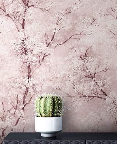 NEWROOM Tapete Rosa Vliestapete Leicht Glänzend - Blumentapete Floral Weiß Grau Baum Blätter Mustertapete Modern Natur inkl. Tapezier-Ratgeber