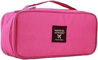 حقيبة تخزين منظم سفر مضادة للماء لحمل حمالات الصدر والملابس الداخلية وأدوات التجميل وما إلى ذلك. (وردي)