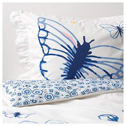 IKEA SANGLÄRKA Bettwäscheset für Kinder; in blau/weiß; Schmetterlinge; 2tlg; (140x200/80x80cm)
