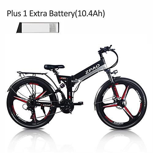 ZPAO KB26 Bicicletta elettrica Pieghevole da 26 Pollici, Batteria al Litio 48V 10.4Ah, Mountain Bike 350W, pedalata assistita di 5 Gradi, Forcella Ammortizzata (Batteria aggiuntiva Black-I Plus 1)