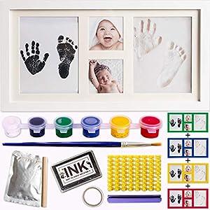 Kit de marco para huellas de bebe de Arcilla y Tinta-molde de letras y numeros con 6 tintas y pincel.Marco fotos bebe de madera y cristal acrilico.Ideal regalos y bautizo.Quickly Smile