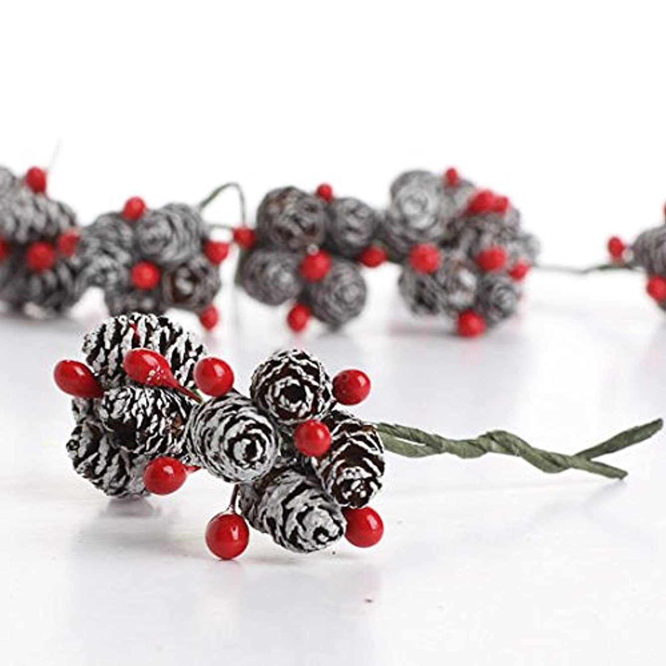 Package of 36 Miniature Wire Stemmed White Frosted Pinecone and Red Berry Embellishing Picks for Christmas and Holiday Decorating