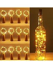 [12 pack] flesverlichting, kolpop kurkverlichting voor wijnflessen, 2m 20 LED koperdraad kerstverlichting voor feestjes, bruiloft, kerst DIY binnen/buiten decoratie (warm wit)