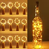 (12 pezzi) Luci per Bottiglia, kolpop Tappi LED a Batteria per Bottiglie, Filo di Rame Led Decorative Stringa Luci da Interni e Esterni per Festa, Giardino, Natalizie, Matrimonio (Bianco Caldo)