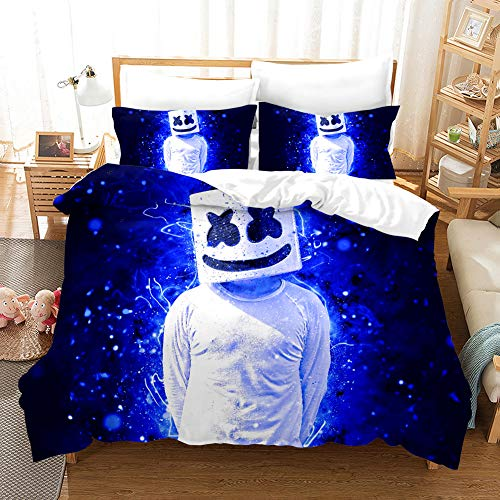 MXXQQ 3Pcs Beding Sets, 3D DJ Marshmello Print Microfiber Quilt Duvet Cover Set Hypoallergenic Bed Covers with 2 Pillowcase, A,Double200cm×200cm