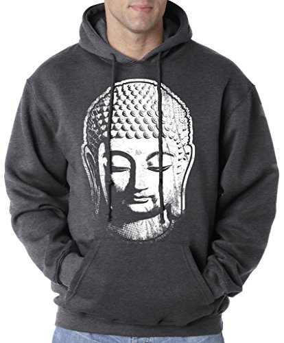 Men's Big Buddha Head Tie Dye Hoodie Sweatshirt, 4XL Charcoal Heather