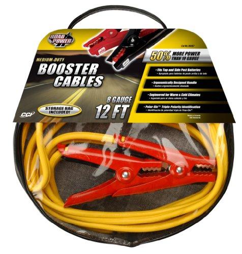 Road Power 84678802 12-Feet, 8-Gauge Medium-Duty Booster Car Battery Jumper Cable, Foot, Yellow