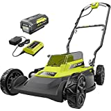 RYOBI RY401100-Y 18 in. 40-Volt 2-in-1 Lithium-Ion Cordless Battery Walk Behind Push Mower 4.0 Ah Battery/Charger Included