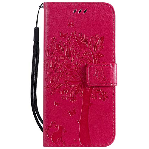 Wencaimd Phone Protector Flip Wallet Cover PU Leather Magnetic Clasp Cat and Tree Embossed with Detachable Wrist Strap Full-Body Protective Fit for Huawei P30 Lite/Nova 4e