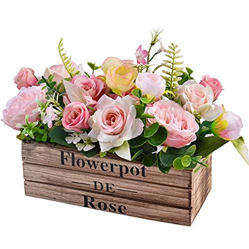 Fiore di rosa artificiale in vaso di legno, fiori di rosa in vaso finti per la decorazione domestica Decorazione del patio dell ufficio del giardino di nozze del partito (rosa)
