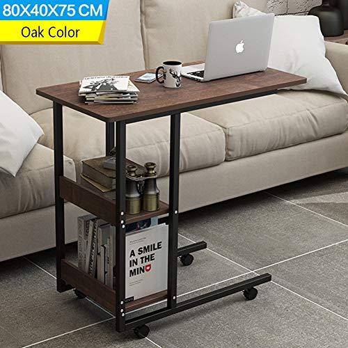 CLEAVE WAVES C gevormde bank/nachtkastje zijtafel, mobiele eindtafel voor koffie laptop tablet frame, 80 x 40 x 75 cm eiken kleur