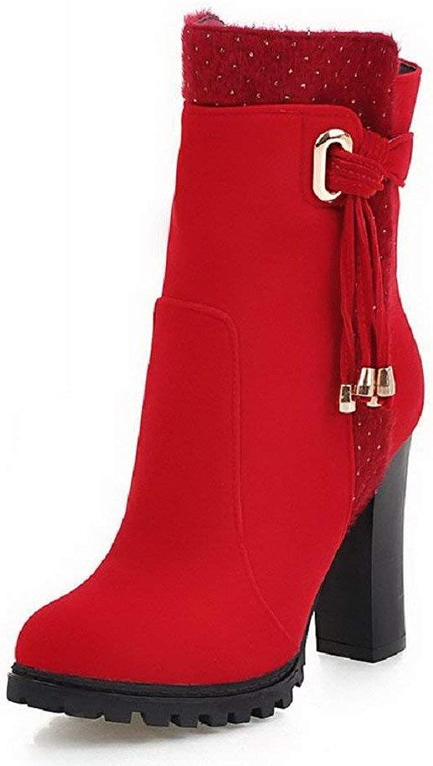 Women's Solid Imitated Suede High-Heels Zipper Round Closed Toe Boots