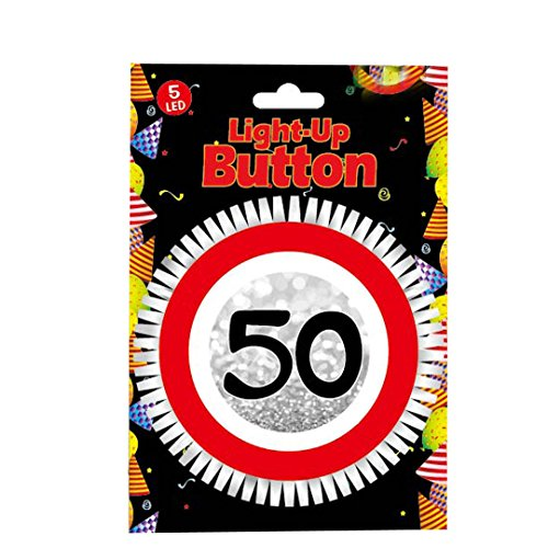 Udo Schmidt GmbH & Co LED Blink Button zum 50. mit 5 LED Geburtstag Geburtstags Dekoration Tischdeko Party Deko