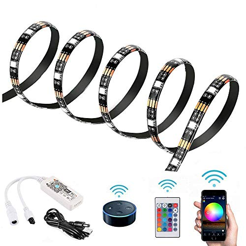 1m WiFi Smart LED Strip Light Trabaja con Amazon Alexa y Google Home DC5V Impermeable USB Powered con Wifi Remote Control para Home Party Decor