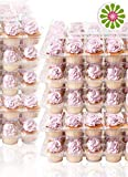 (24 Pack x 6 Sets) STACKnGO Carrier Holds 24 Standard Cupcakes - Strongest Cupcake Boxes, Tall Dome Detachable Lid, Clear Plastic Disposable Containers, Storage Tray, Travel Holder, Regular Muffins