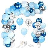 66 Piezas Globos Azules y Blancos Plata, Azul Metálicos Confeti Guirnalda Arco Kit, para Bebe 1 Año Cumpleaños, Niño Bautizos Comunion Baby Shower Azul,Bodas Aniversario Graduacion Fiesta Decoracion