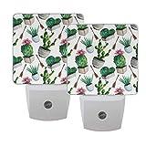 Gokruati 2 pcs Luz de noche LED enchufable,ideal para dormitorio Luz de noche brillante con sensor de anochecer a abajo para pasillo de baño(Cactus verde)