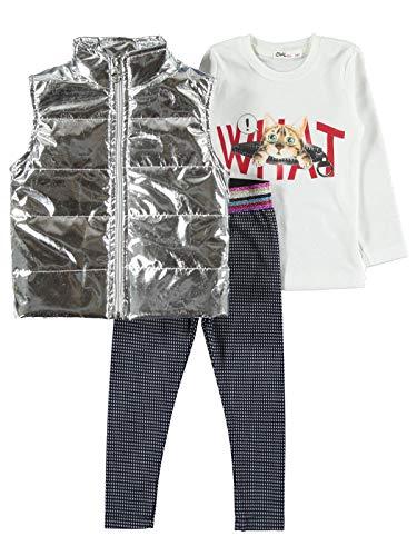 Civiele baby meisje doek set ronde hals met broek, lange mouw shirt en glanzend vest