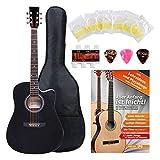 Classic Cantabile guitare acoustique folk avec micro guitare, set démarrage à 4 pièces, noir