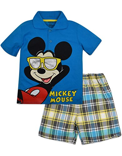Little Boys' Mickey Mouse Polo and Plaid Shorts Set - Blue (5)