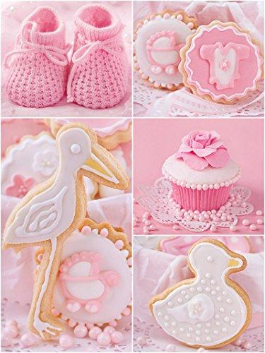 Fototapete Tapete Wandbild Welt-der-Träume | Babyschuhe und rosa Cupcakes | P4A (254cm. x 184cm.) | Photo Wallpaper Mural 10445P4A-MS | Essen Süßigkeiten Kuchen Bonbon Konditorei