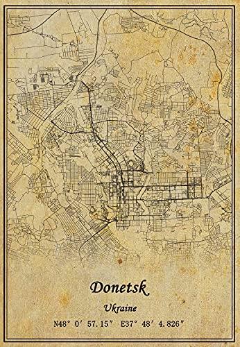Ucraina Donetsk mappa artistica da parete poster su tela in stile vintage senza cornice, idea regalo, 30,5 x 45,5 cm