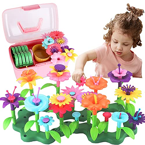CENOVE Toddler Toys Gifts for Girls Age 3 4 5 6 Year Old Flower Garden Building Toy Educational Activity Stem Toys for Preschool Children(130 Pcs)