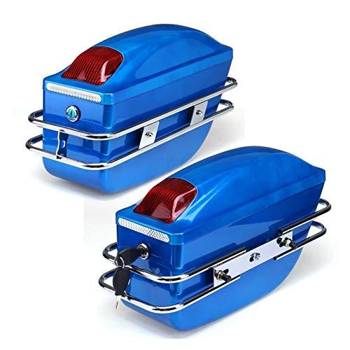 Baul Case para Cajas Laterales Universales para Motocicleta Bolsa De Herramientas De Cola De Tanque De Equipaje Estuche Rígido Bolsas De Sillí Baúl Lateral para Ya-ma-ha (Color : Azul)
