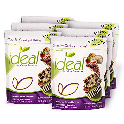 Ideal No Calorie Xylitol Sweetener: Natural, Non GMO, Keto Friendly, Bulk Granulated Sugar Substitute and Alternative, 10.6 Ounces Per Pouch - 6 Pouches
