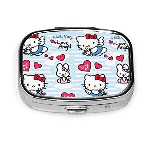 Square Pill Box- Portable Angel Hello Kitty Medicine Organizer Holder Two Compartment Pill Case