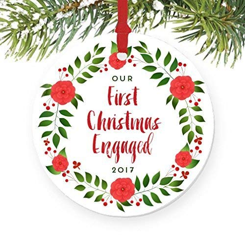 For367Walton Our First Christmas Engaged Ornament 2017, Floral Wreath Engagement Gift Porcelain Ornament, 3' Flat Circle Christmas Ornament Glossy Glaze