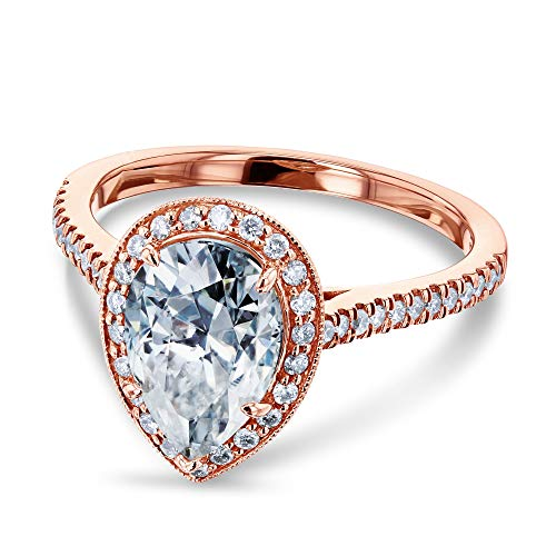 Kobelli Pear Shape Moissanite Halo Engagement Ring 2 1/2 CTW 14k Rose Gold, Size 6